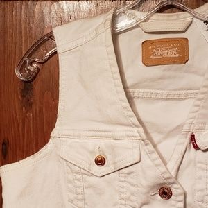 Levi's White Denim Jean Vest Copper Buttons M